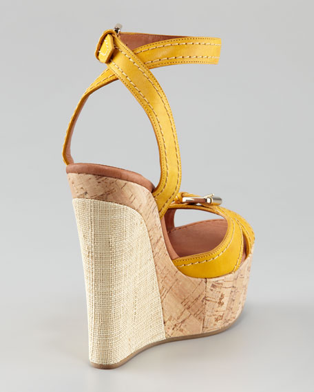 Raffia & Cork Wedge Sandal, Yellow
