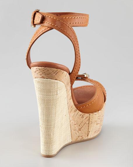 Raffia & Cork Wedge Sandal, Cognac