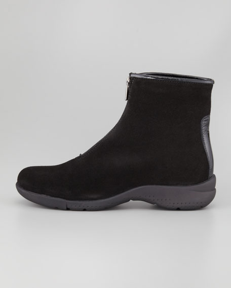 Tira Front-Zip Ankle Boot, Black