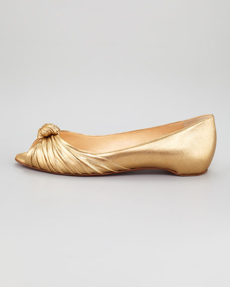 Turban Metallic Leather Red Sole Flat