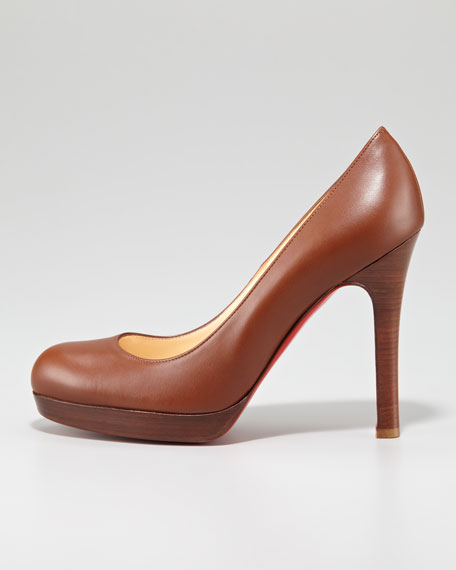 Bruges Leather Platform Red Sole Pump, Medium Brown