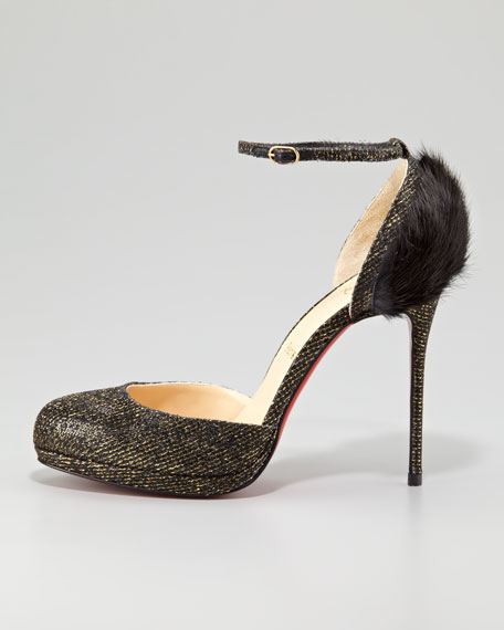 Crazy Fur Ankle-Strap Red Sole Pump, Black