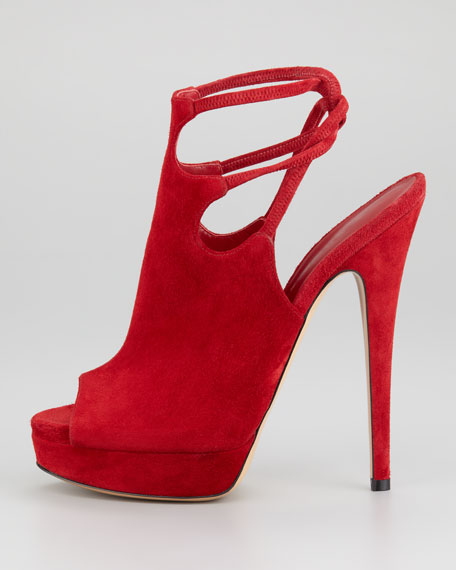 Suede Strappy Open-Toe Bootie