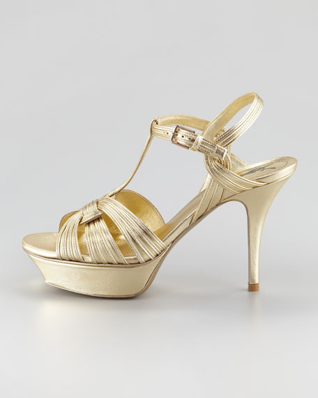 "Tribute Metallic Sandal, 4"" Heel"