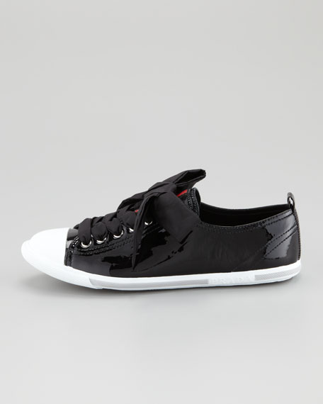 Patent Leather Cap-Toe Sneaker, Black