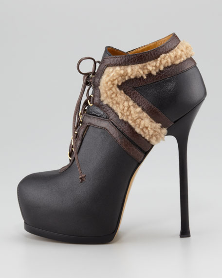 Tribtoo Fur-Trim Ankle Bootie