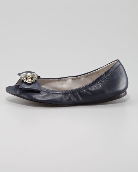 Lucie Crystal-Toe Ballerina Flat