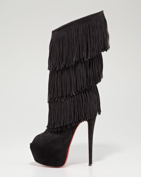 christian louboutin fringe-trimmed leather ankle boots