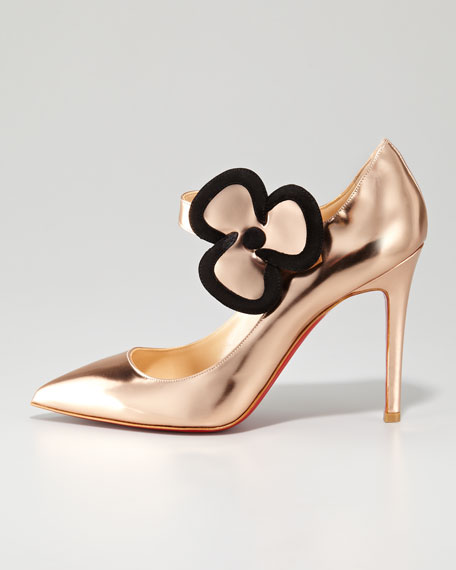 Pensee Mary Jane Flower Red Sole Pump, Nude