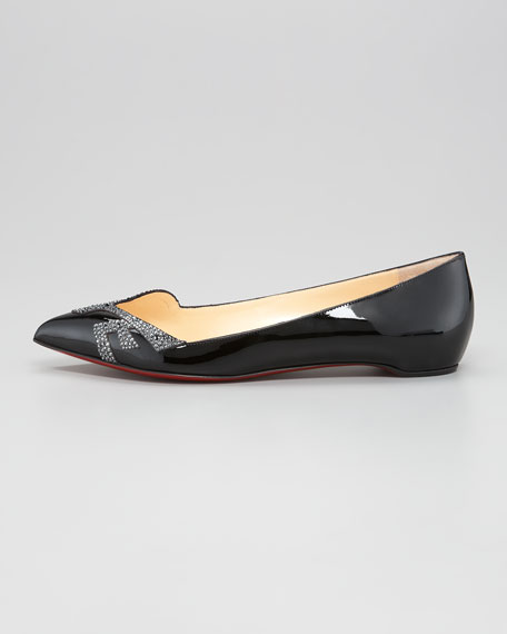 Pigalove Pointed-Toe Red Sole Flat