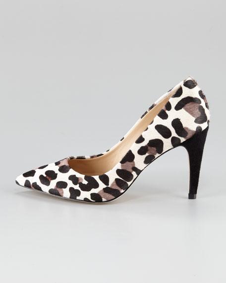 Anette Leopard-Print Calf Hair Pump