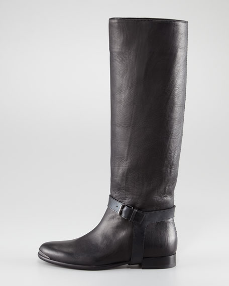 Harness-Strap To-the-Knee Flat Boot