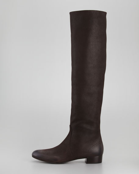 Flat Knee Boot, Dark Brown