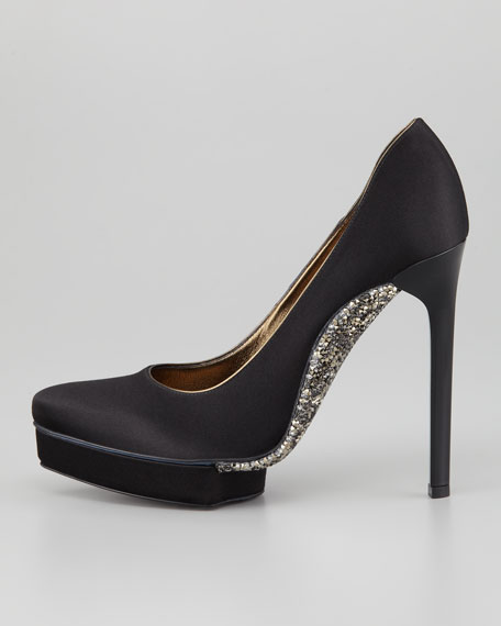 Crystal-Sole Satin Pump