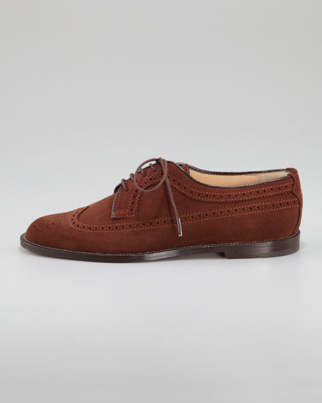 Manolo Blahnik Lorenza Wing-Tip Suede Oxford, Brown