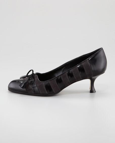Tibiala Striped Kitten-Heel Pump, Gray/Black