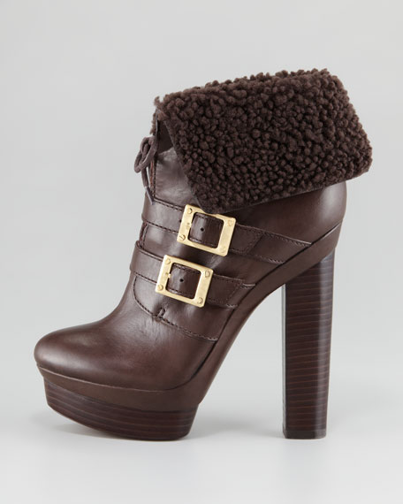 Piper Shearling-Cuff Bootie, Dark Brown