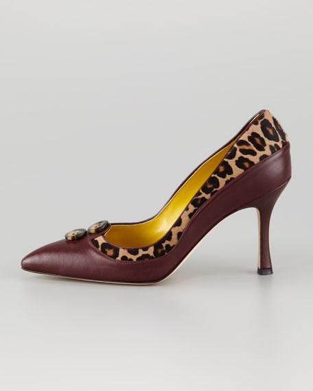 Lushka Leopard-Print Calf Hair Pump