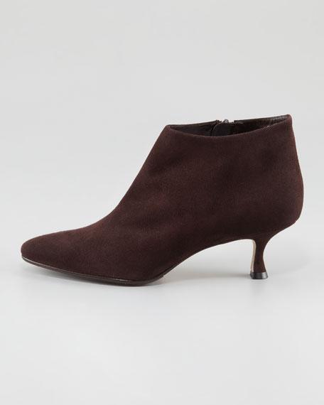 Maleeba Suede Low-Heel Bootie, Brown