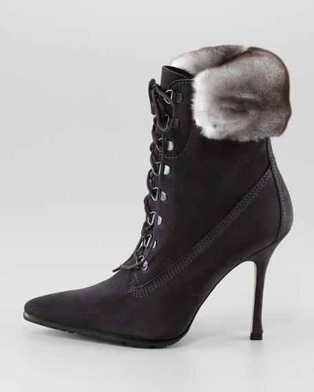 Oklamod Fur-Trim Lace-Up Bootie, Black