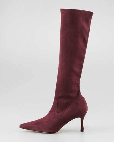 Pascalare Tall Stretch Suede Boot, Bordeaux