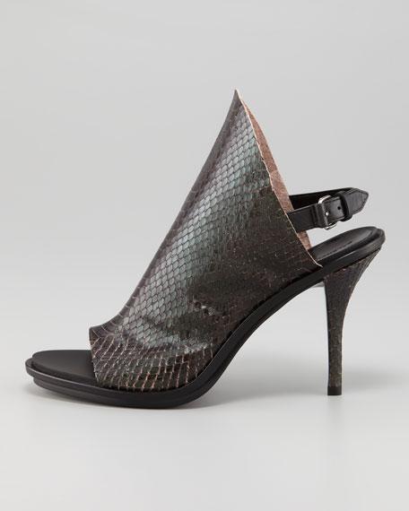 Snakeskin-Printed Glove Slingback