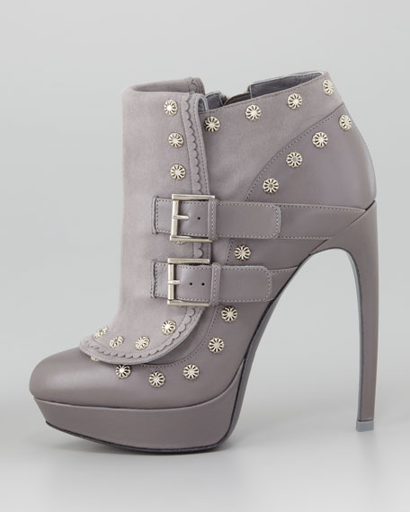 Floral-Stud Ankle Boot
