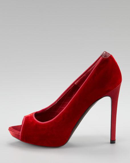 Velvet Open-Toe Pump, Red