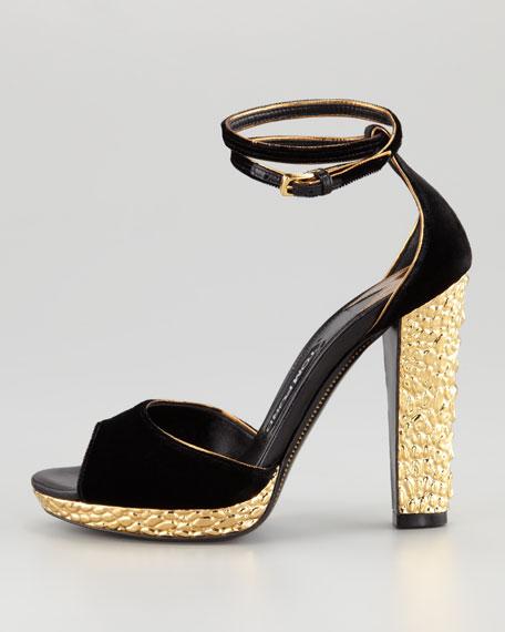 Velvet Crisscross Ankle-Wrap Sandal