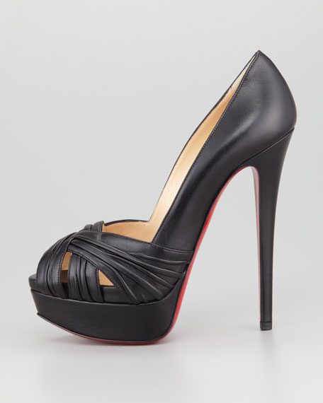 Arborina Twist-Front Platform Red Sole Pump