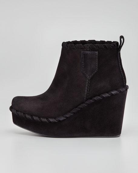 Kendra Whipstitch Wedge Bootie, Black