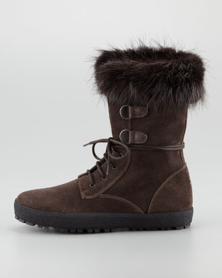 Breuil Fur-Trim Lace-Up Boot