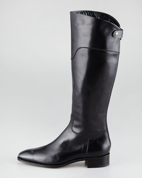 Perforated-Cuff Flat Leather Boot