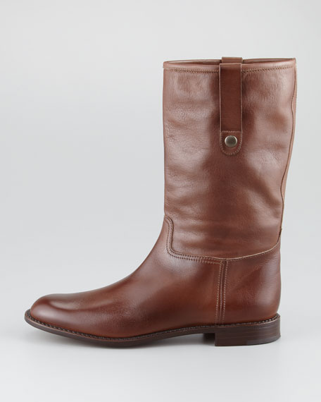 Pull-On Flat Boot, Brown