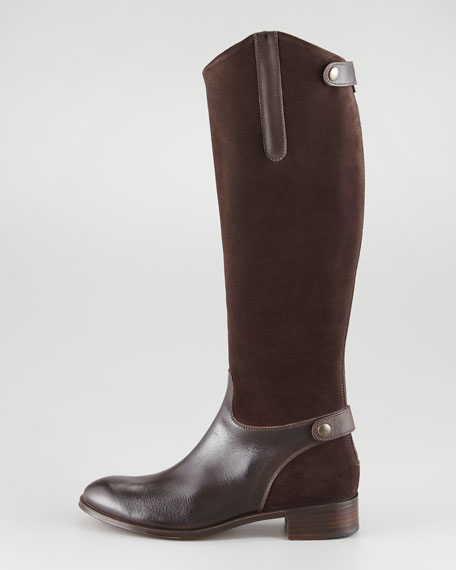 Suede & Leather Flat Knee Boot