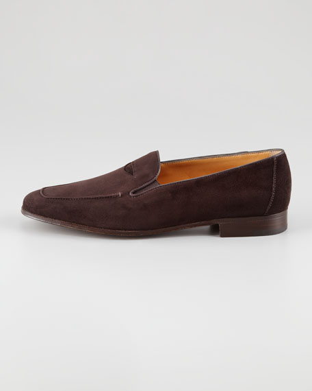 Suede Elasticized Penny Loafer, Brown