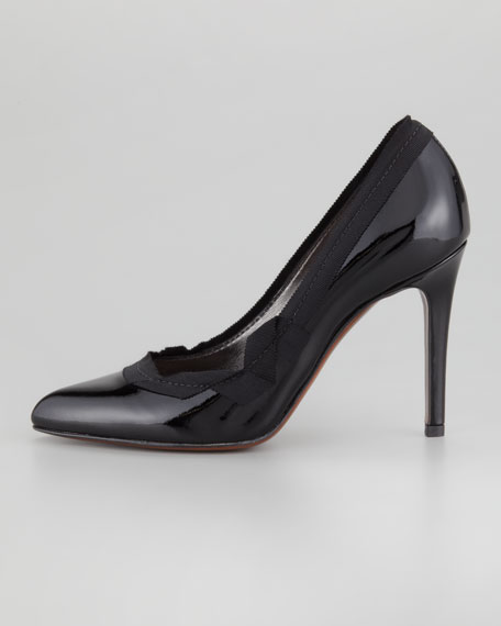 Grosgrain-Trim Leather Pump