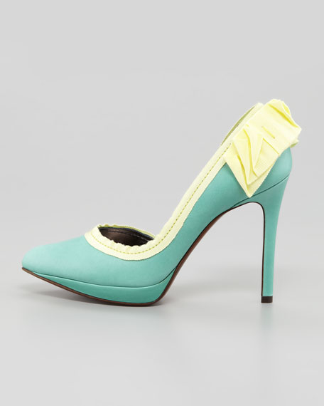 Grosgrain-Trimmed d'Orsay Pump, Green