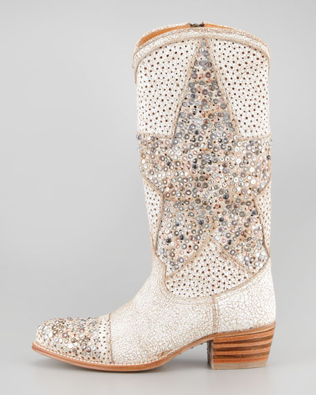 Deborah Star Tall Boot, White
