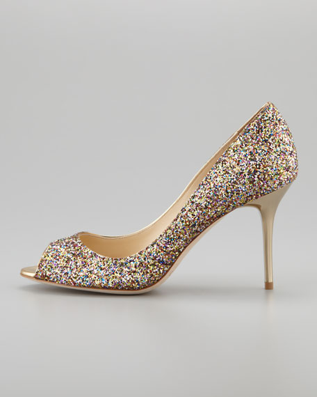 Evelyn Glitter Peep-Toe Pump