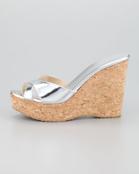 Perfume Cork Wedge Slide, Silver