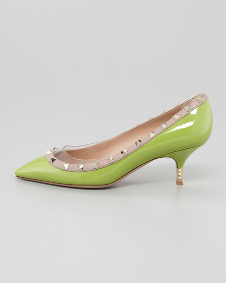 Rockstud Metal Heel Pump, Pop Apple