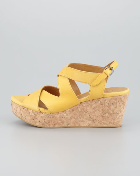 Mori Platform Cork Wedge Sandal, Yellow