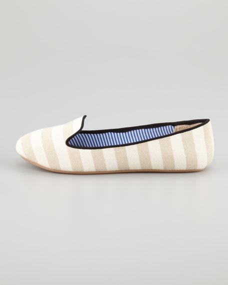 Tropez Striped Slip-On Loafer, White/Tan