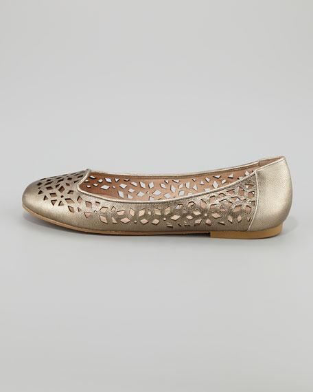 Unite Laser-Cut Ballet Flat, Gold
