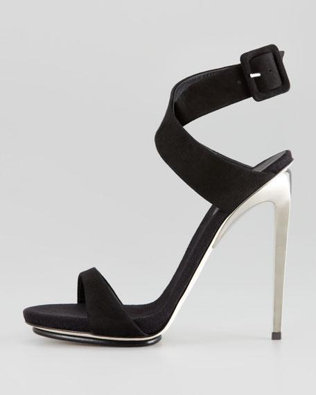 Suede Crisscross Sandal, Black