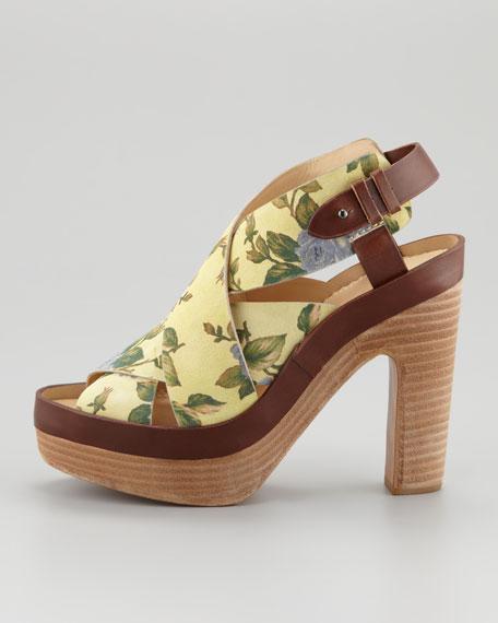 Sloane Floral Platform Sandal, Canary
