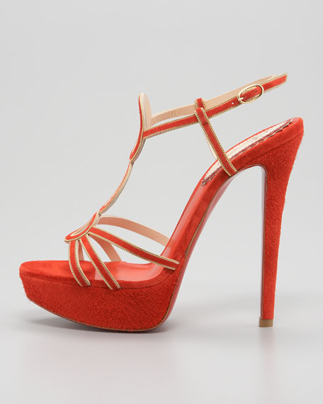 Troisronds Veau Velors Red Sole Sandal