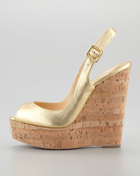 Cork Slingback Wedge, Gold