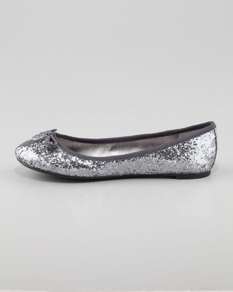 Chelsea Bow-Toe Glitter Flat, Silver